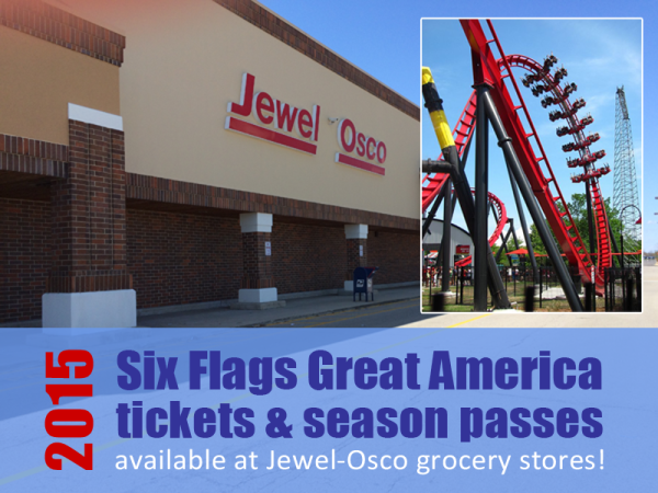 The Jewel-Osco grocery store in Gurnee sells discounted tickets to Six Flags Great America. When Guests sign up for the Six Flags Great America Season Pass, they receive a coupon book and a few Bring-a-Friend-Free tickets.